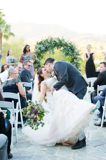 Katelyn and greg's big aisle kiss