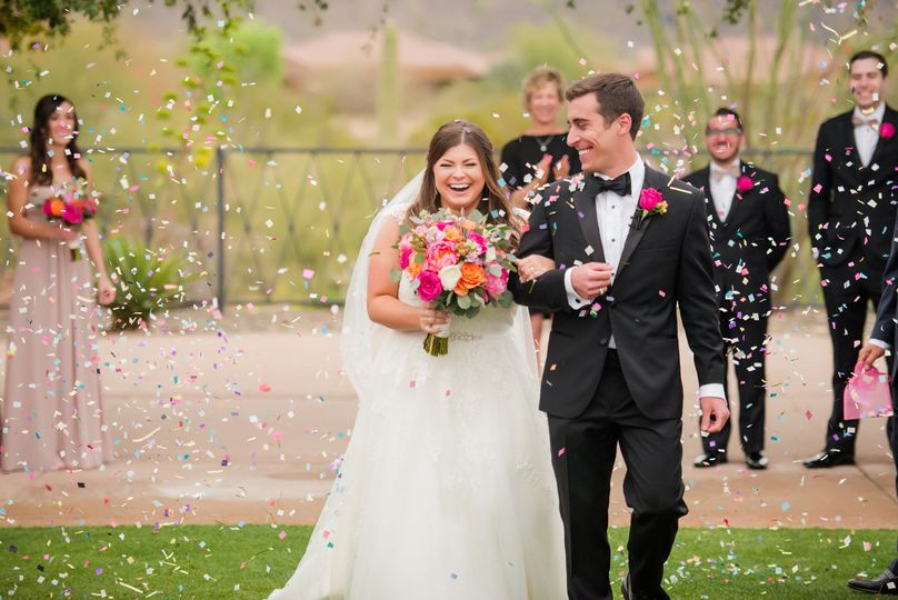 Jordan and Danee's confetti recessional (Ryan and Denise Photography)