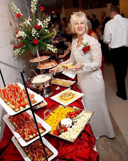 Indoor buffet, happy guest