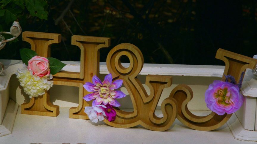 Wooden Carved Initials