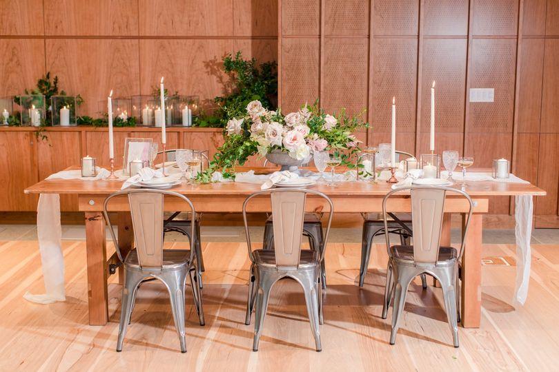 Indoor wedding table