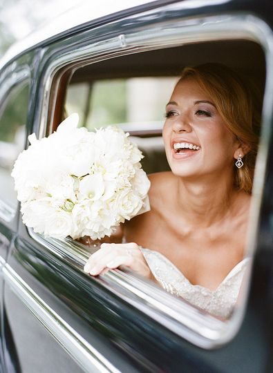 The bride in the car