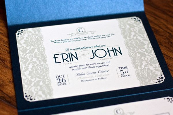 Erin & John's lace wedding invitation