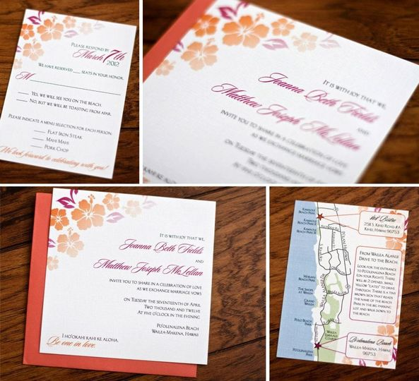 Joanna & Matt's Maui destination wedding invitation & inserts