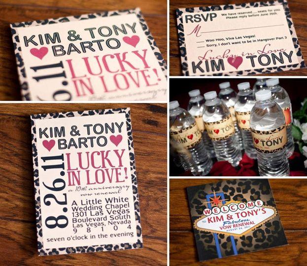 Kim & Tony's Las Vegas vow renewal invitation, Rsvp, water bottle labels, and favor tags.
