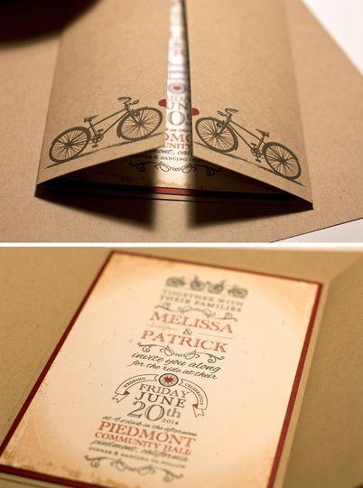 Melissa & Patrick's bicycle wedding invitation