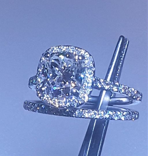 Custom platinum ring with diamond band