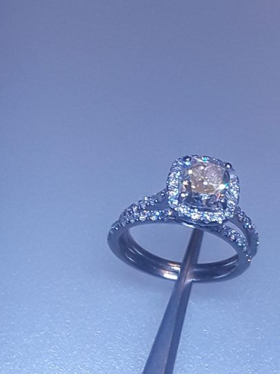 Custom platinum ring with yellow stone