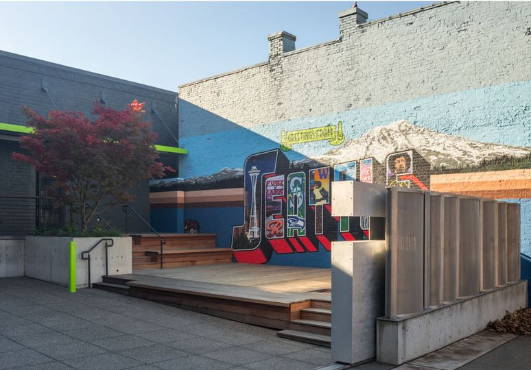 Private courtyard & mural