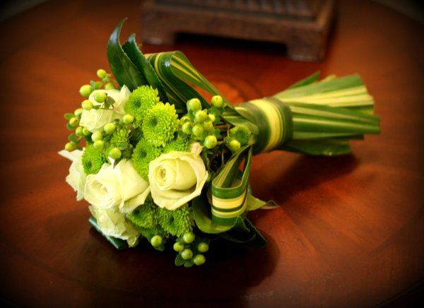 A chic twist on the ever timeless green and white bouquet.