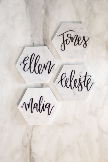 Name plates | Photo by Rebecca Langford Photography