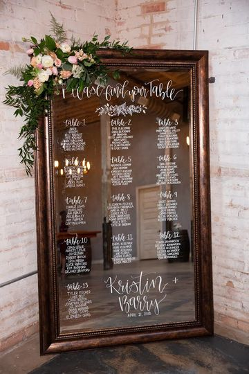 Sample table assignments board  | Photo by Hello Beautiful Photography