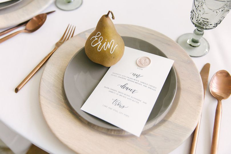 Pear and menu  | Photo by Karlye Melynn Photography