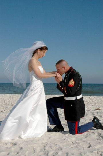 Groom kiss bride's hand