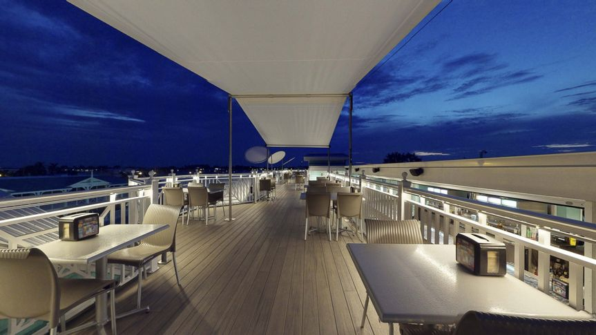 Rooftop deck at night