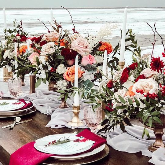 Table setting and floral arrangements