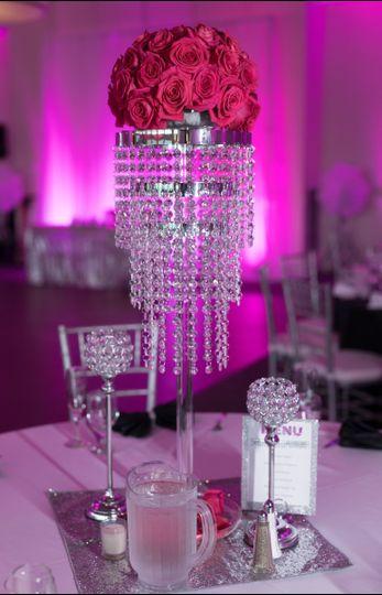 Tabletop Chandelier with Hot Pink Rose Topper, Crustal Votive Holders, Custom Menu Card
