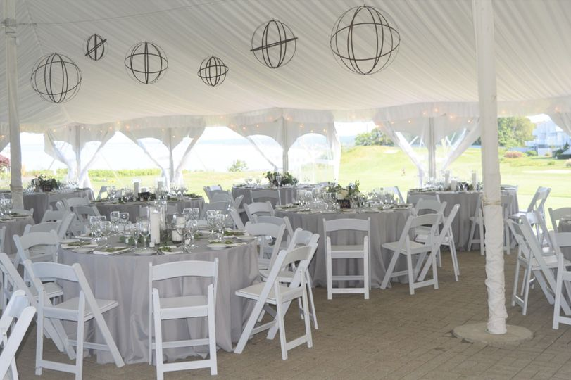 Metal orbs in reception tent