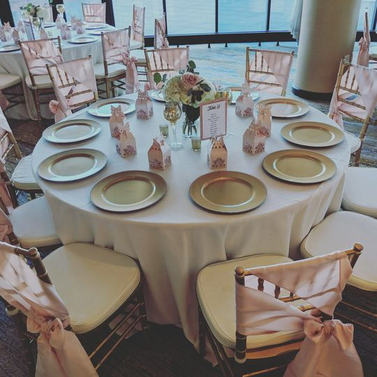 Blush chair ties on gold chivari chairs
