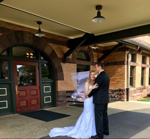 Couple prepare to enter the front door