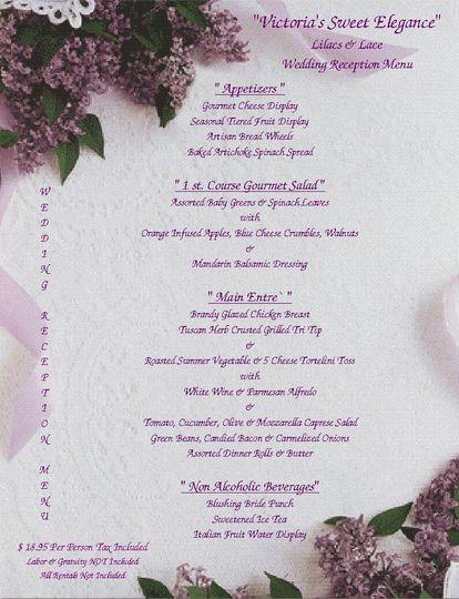 tuscan wedding reception menu