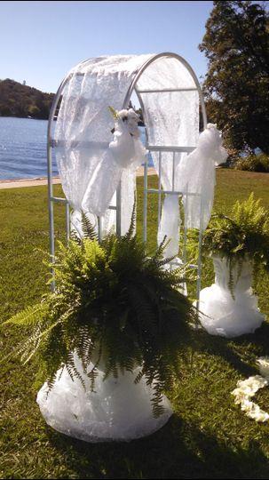 boston ferns and arch wedding lww