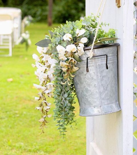 Floral and greenery bucket