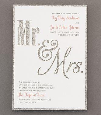 Gold shimmer wedding invite