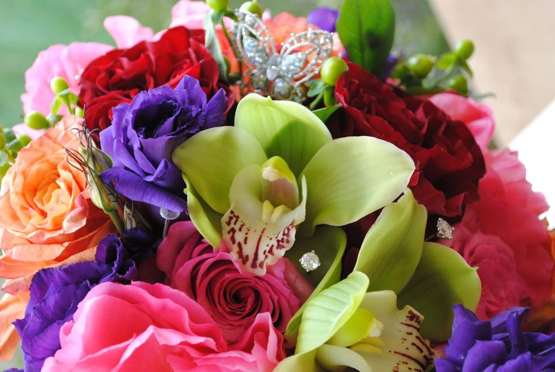 a colorful bridal bouquet