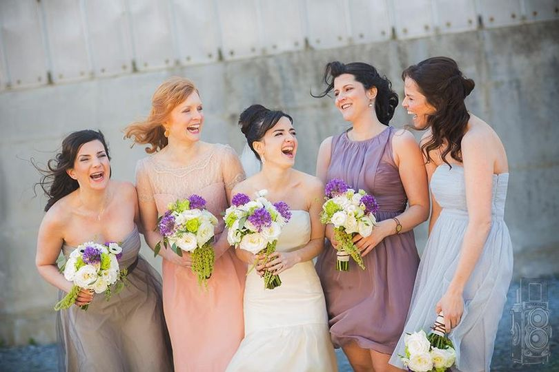 Laughter from the wedding party