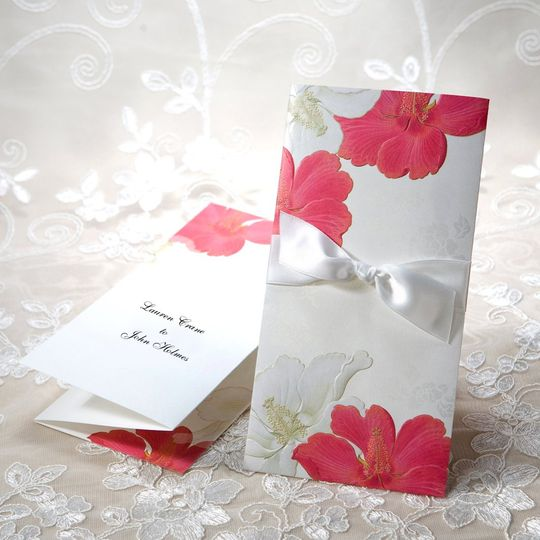 This gorgeous two-part invitation features an outer sleeve and an inner tri-fold insert. On the...