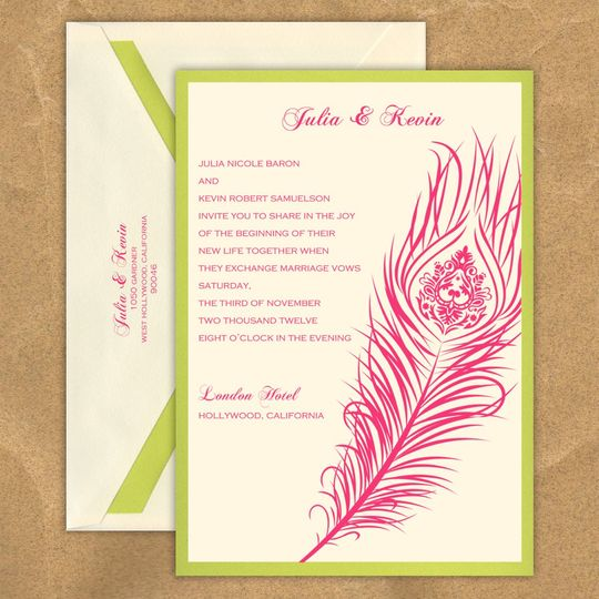 This stylish wedding invitation features two layers of luxurious card stock and a stylish peacock...