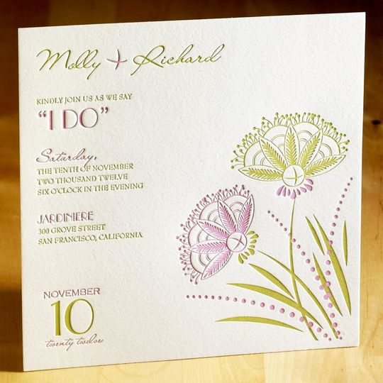 """Tie the Knot"" wedding invitation features a hand-drawn watercolor design of an elegant hanging..."