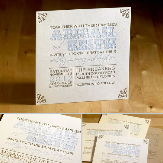 This amazing letterpress wedding invitation features your custom text as the main attraction. The...