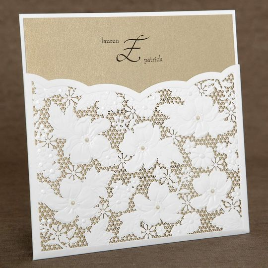 "This gorgeous wedding invitation, ""Laser Cut Pearl Elegance Pocket"", features an intricate laser cut..."