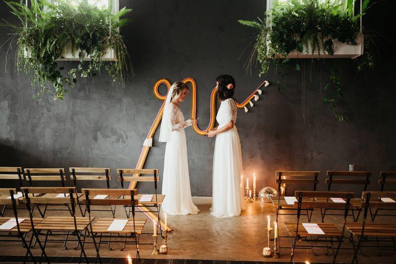 Indoor ceremony backdrop