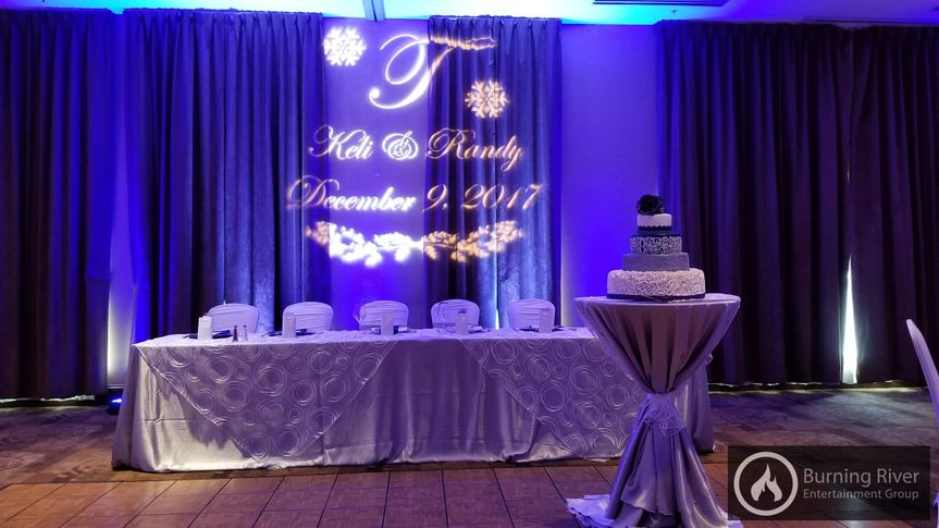 Reception area with the wedding cake