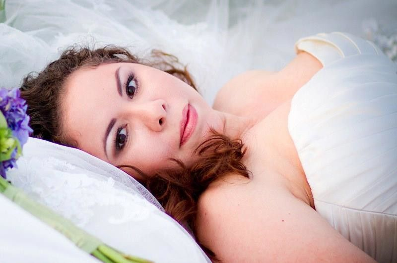Bride lying down