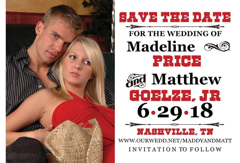 Great save the date with a little western flair.  You design on line, we print and offer this design...