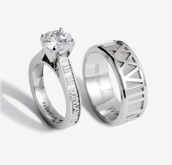 His and Her Palladium Wedding Bands -  Hers: Slender personalized Roman Numeral band with a 2ct....
