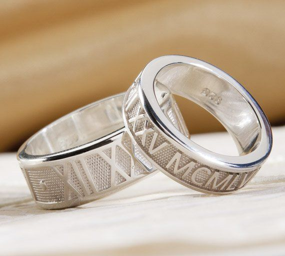 His & Her Matching Personalized Roman Numeral Bands in Palladium.