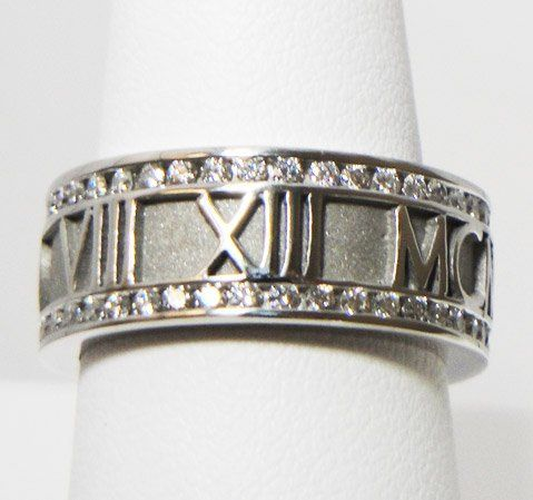 Diamond-Rimmed Personalized Roman Numeral Band in Palladium.