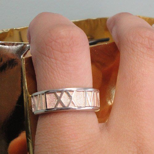 Two Tone Gold Personalized Roman Numeral Band.