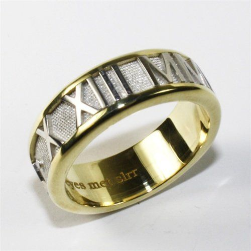 Two Tone Gold Personalized Roman Numeral Band