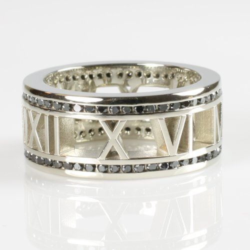"Palladium ""Pierced"" Personalized Roman Numeral Band Rimmed in Black Diamonds"