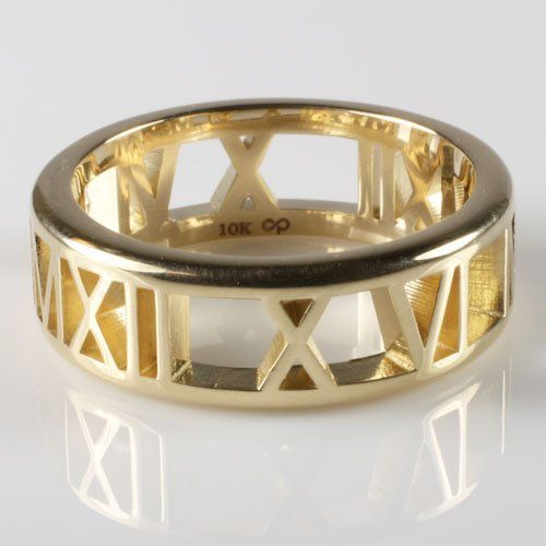 "Personalized ""Pierced"" Roman Numeral Band in 14k Yellow Gold"