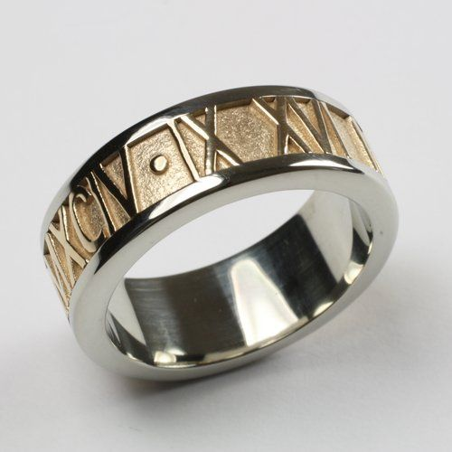 Personalized Roman Numeral Band in Two Tone 14K Gold
