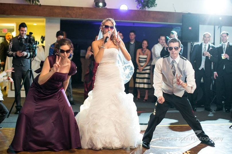 Bride and siblings rockin out