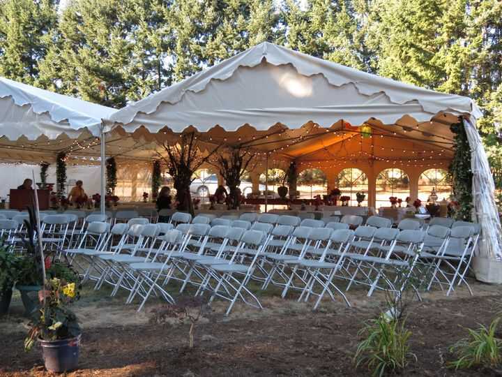 Your outdoor wedding doesn't have to be one big tent. Multiple tents can be placed to work around...