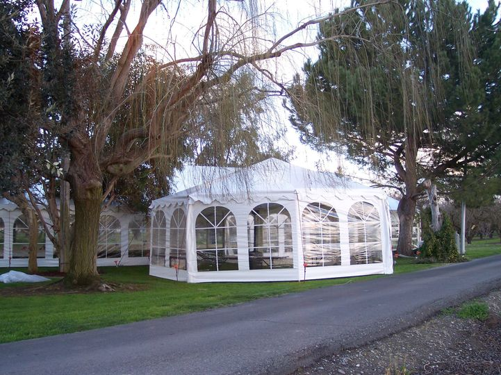 Our 26ft all white Gazebo provided a wing off of the main tent for an elegant circular buffet...